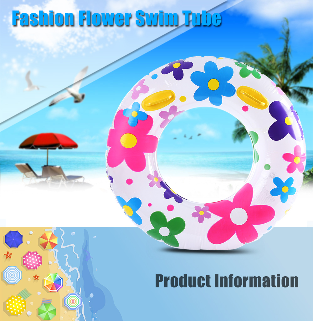 WINMAX Fashion Inflatable Flower Pattern Swim Ring Swimming Tube