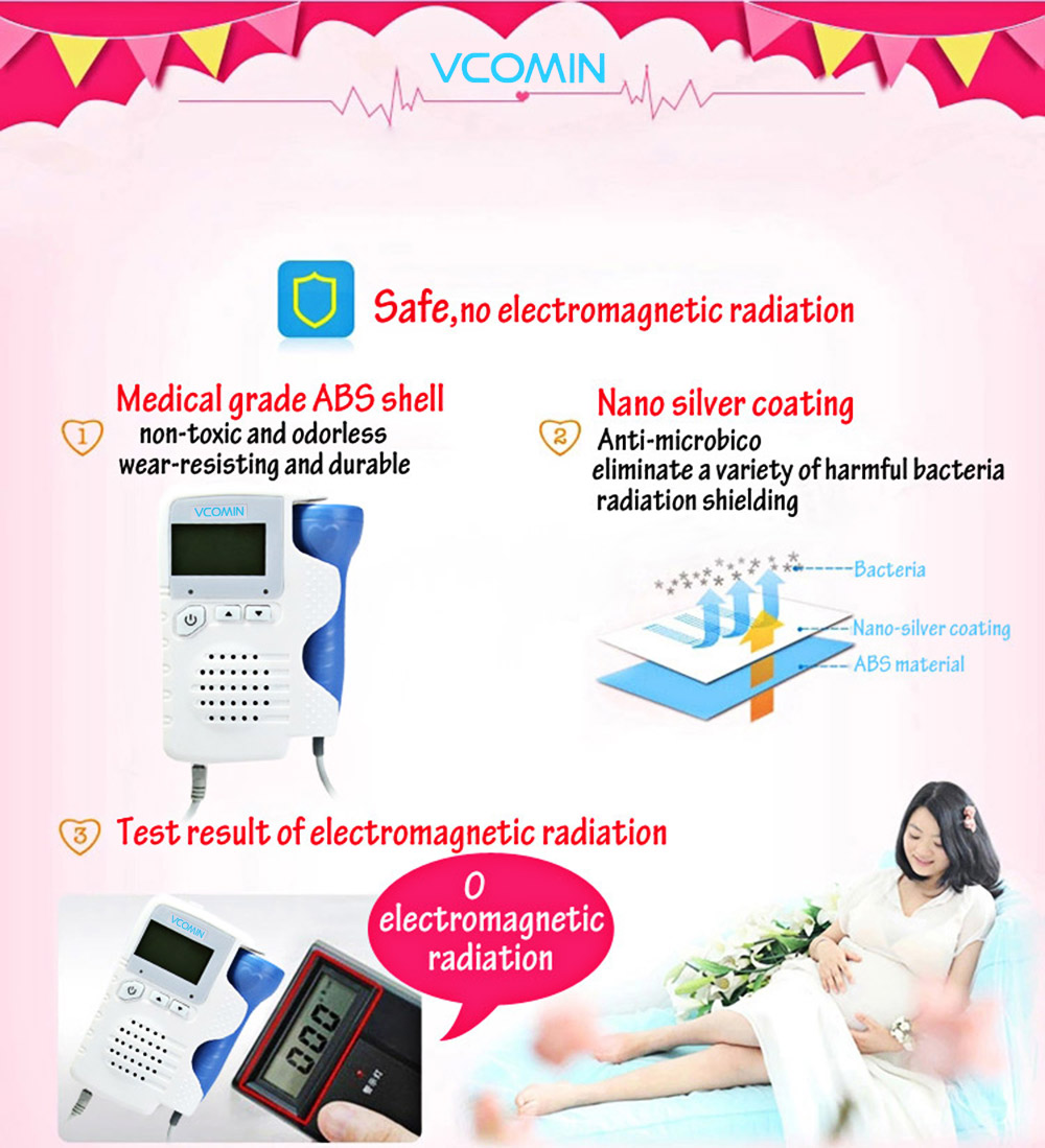 VCOMIN FD - 200B+ Fetal Doppler Fetal Heart Rate Detection Device for Home Office Supplies