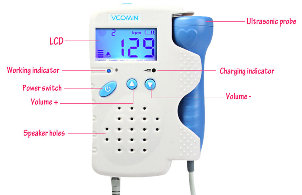 VCOMIN FD - 200D Fetal Doppler LCD Screen Baby Heart Rate Detection Device