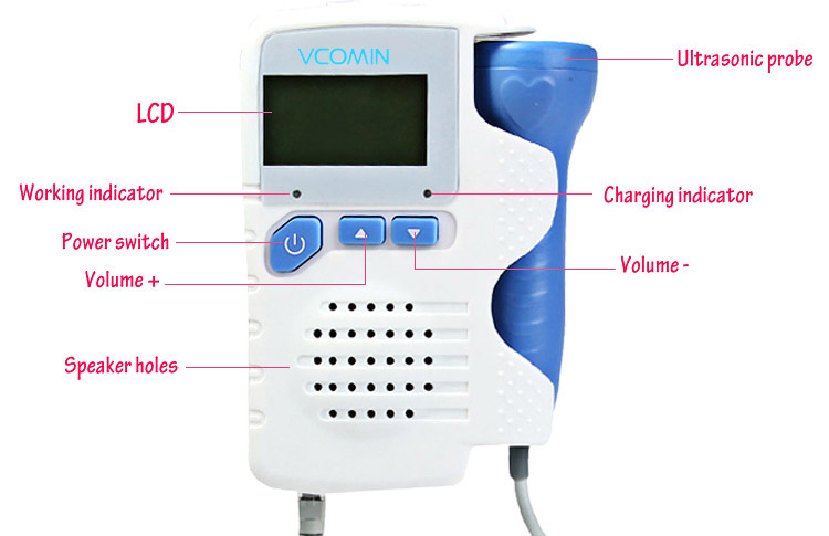 VCOMIN FD - 200C+ Fetal Doppler LCD Screen Baby Heart Rate Detection Device