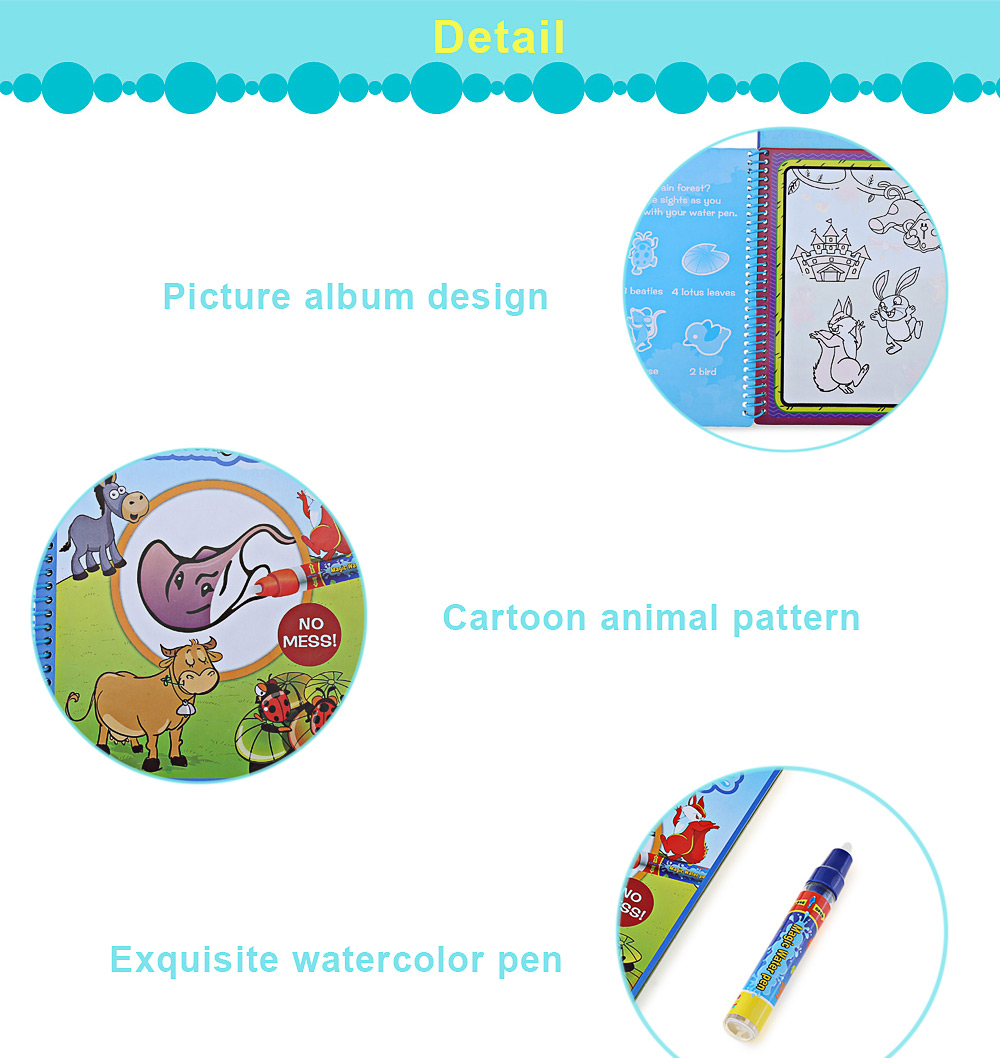 Magic Animal Water Drawing Book Toy for Kids with Watercolor Pen