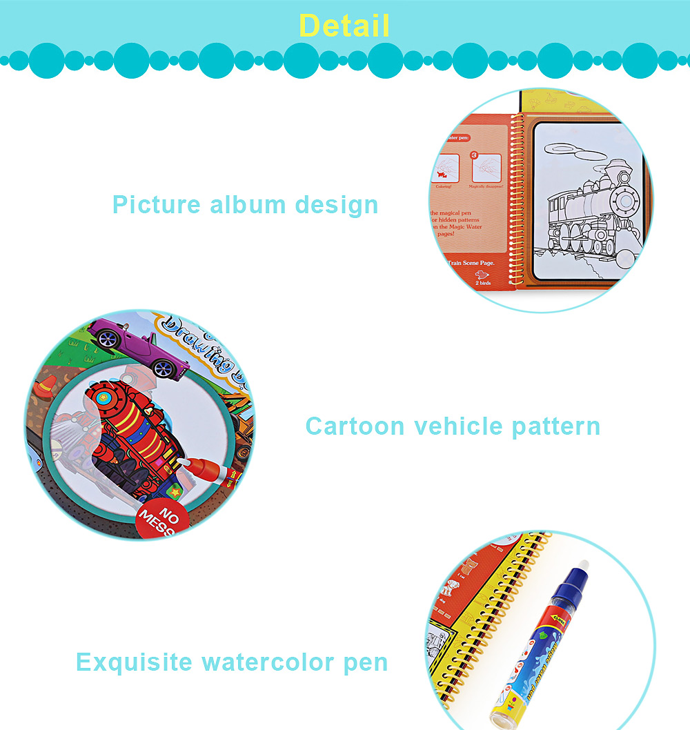 Magic Transportation Water Drawing Book Toy for Kids with Watercolor Pen
