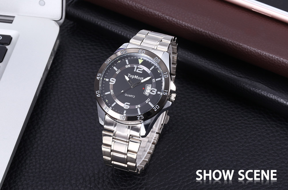 TOPMOST 1930 Male Quartz Watch Calendar Double Scales Luminous Water Resistance Wristwatch
