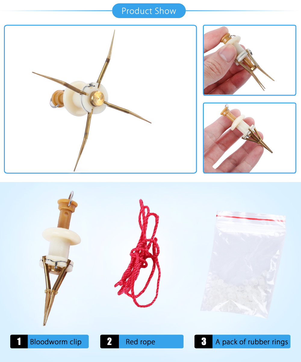 LEO Portable Fishing Tool for Bloodworm Earthworm Clip Seawater Freshwater Carp Fish Bait Tackle Accessory