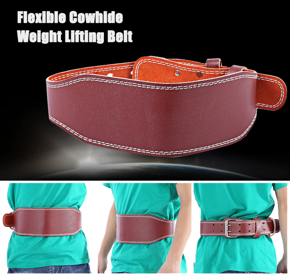Adjustable Cowhide Back Support Weight Training Fitness Lifting Belt