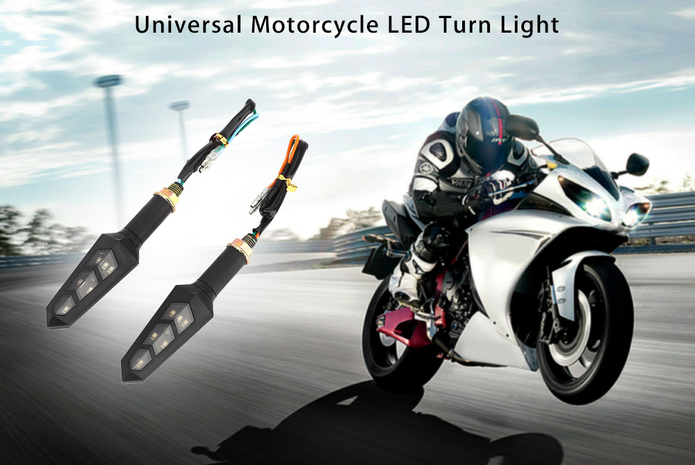 Pair of Universal Motorcycle Motorbike LED Turn Signal Light Corner Lamp
