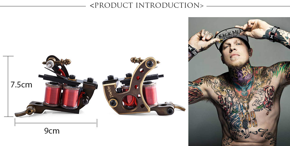 Professional Artists Handmade 12 Wrap Coils CNC Carving Copper Tattoo Machine Shader Guns