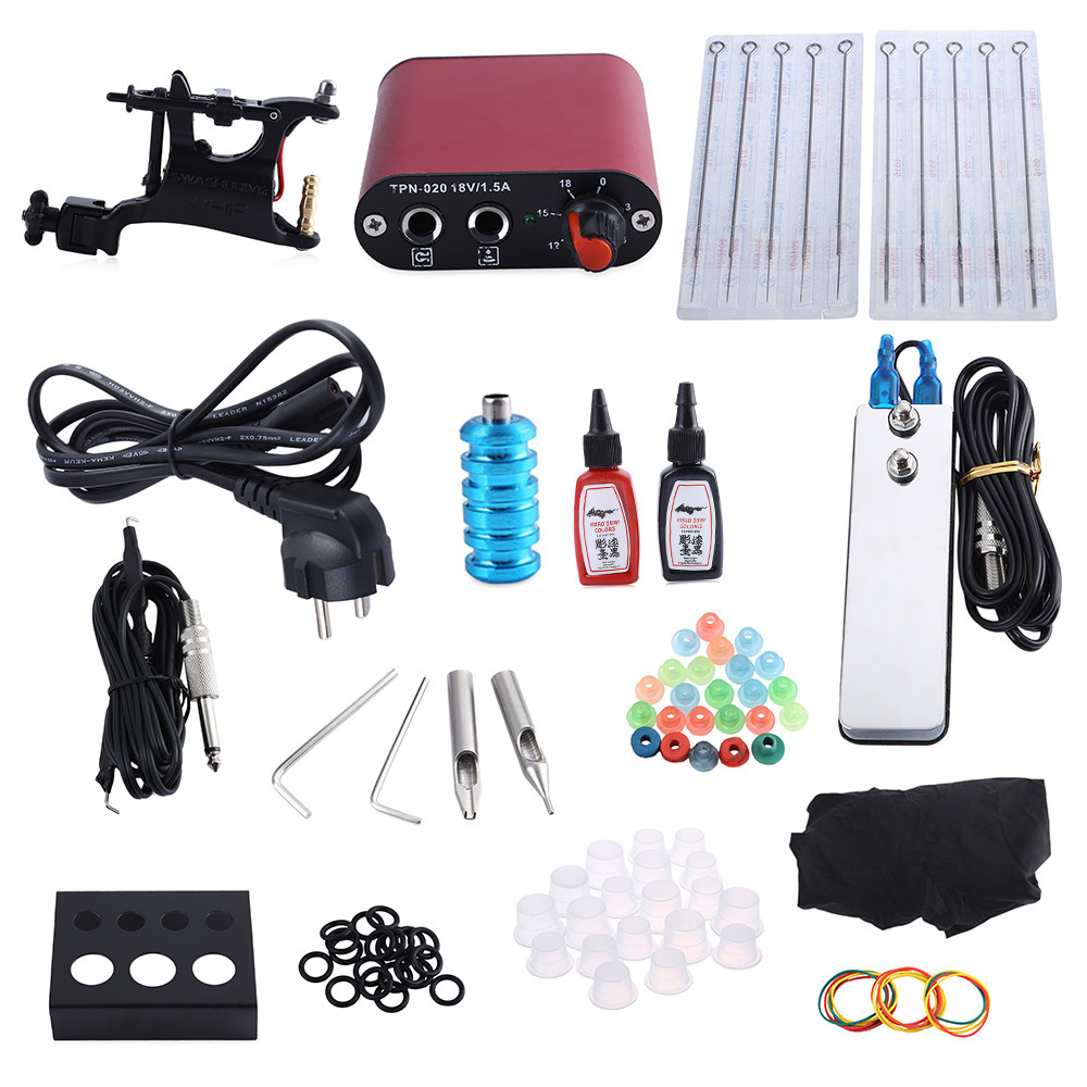 Complete Tattoo Kit Professional 2 Rotary Motor Machine Guns Power Supply Inks Foot Pedal