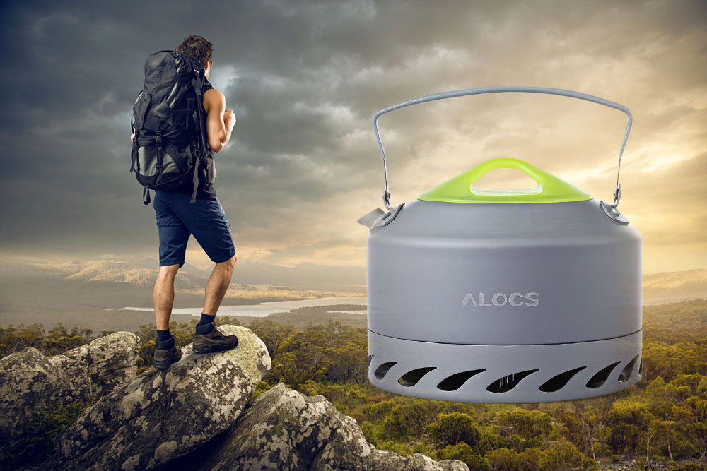 ALOCS CW - K07 0.9L Aluminum Alloy Gathered-energy Tea Kettle with Mesh Pouch for Outdoor Camping Hiking