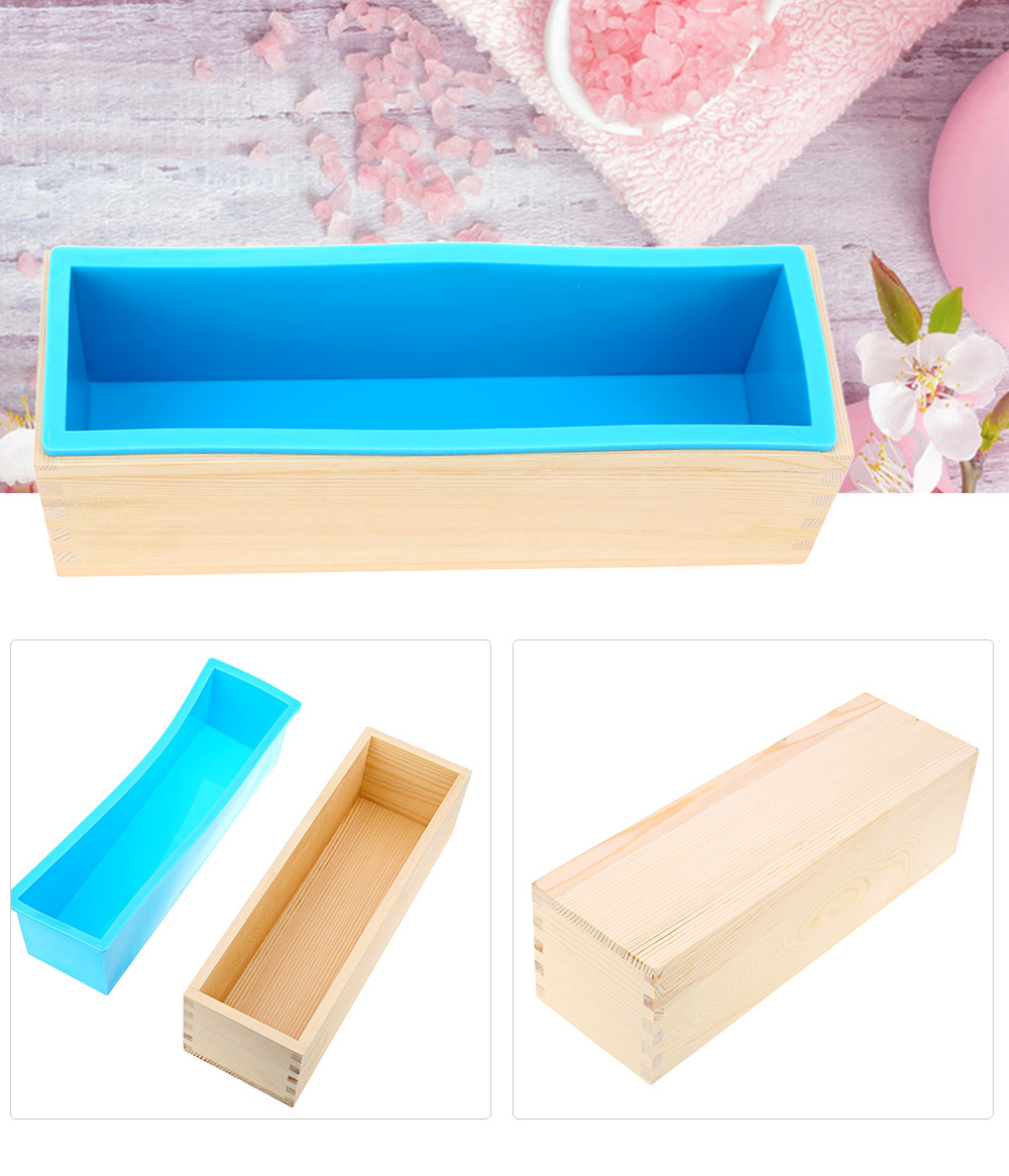 1200g Silicone Soap Loaf Mold Wooden Box DIY Making Tools