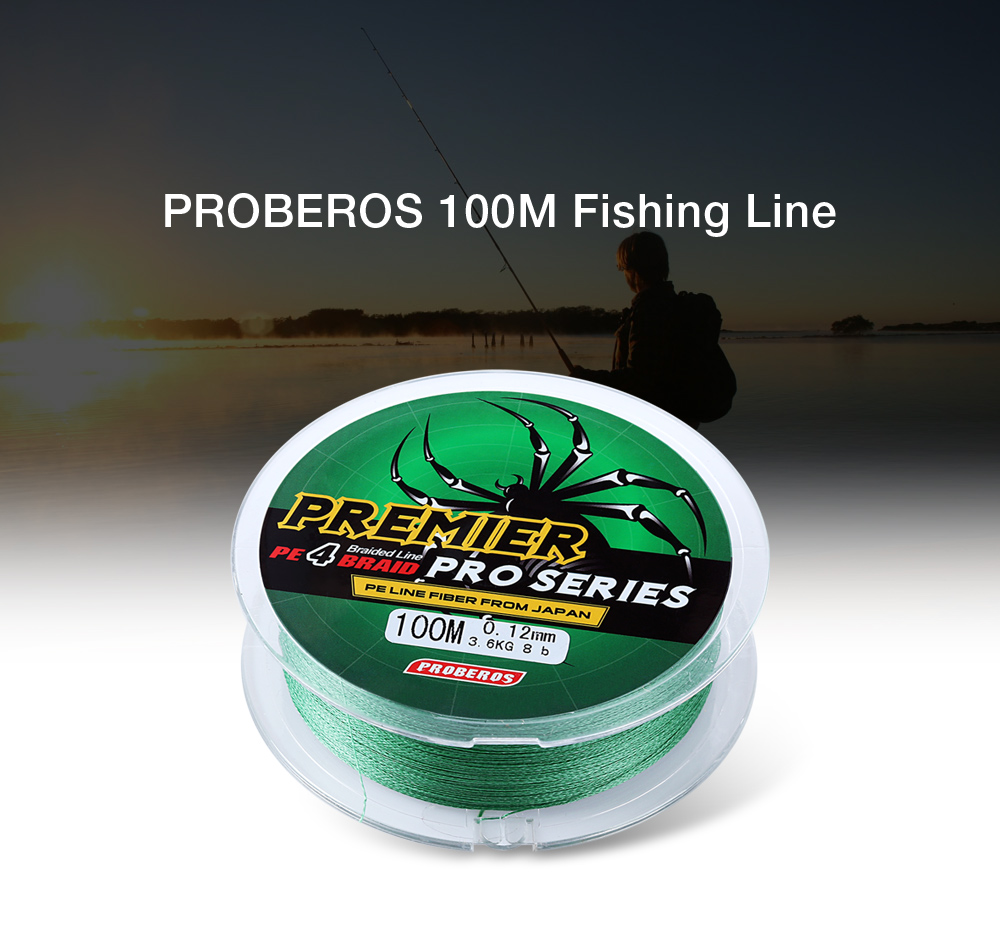 PROBEROS 100M Mixed Color PE Monofilament Fishing Line Strong 4 Strands Braided Wire