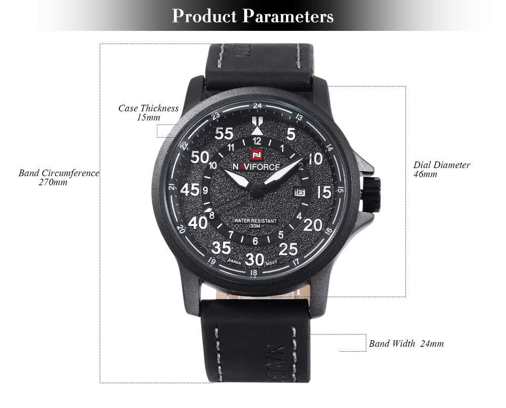 Naviforce 9076 Male Quartz Watch Date 24 Hours Display 3ATM Leather Band Wristwatch