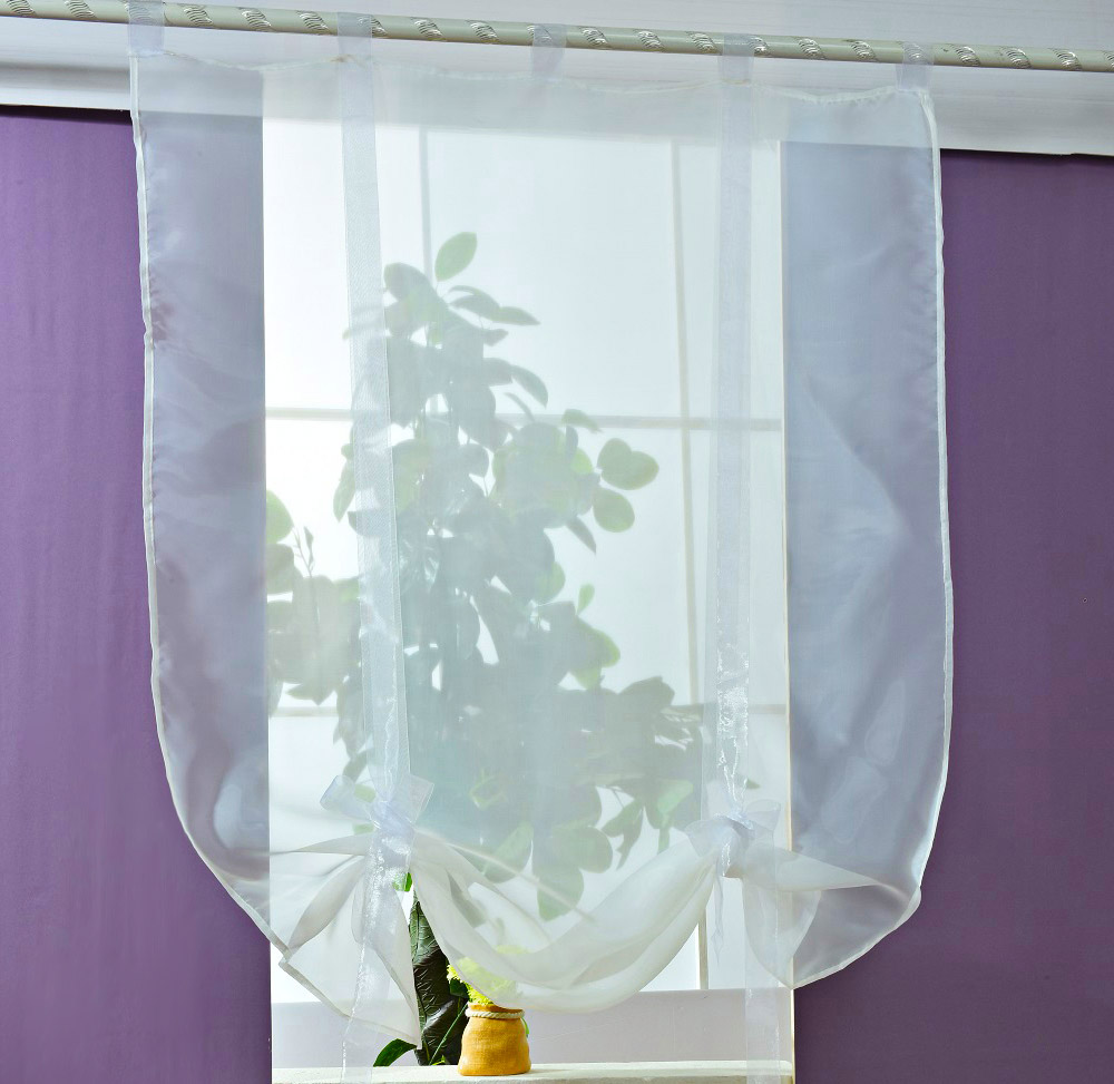 140 x 140CM European Wave Blinds Stitching Colors Voile Panel Window Curtain