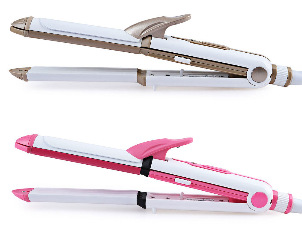 KM - 1213 Multifunction 3 In 1 Ceramic Iron Barrel Clamp Straighter Wave Curler