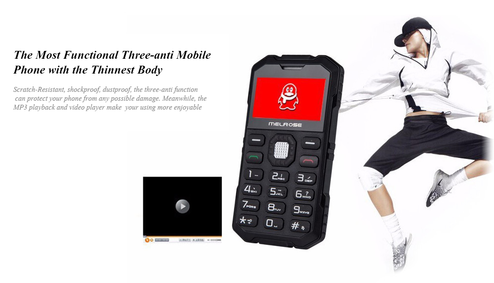 MELROSE S2 1.7 inch Ultra-thin Outdoor Card Phone GSM Camera Scratch Resistant Shockproof Dustproof