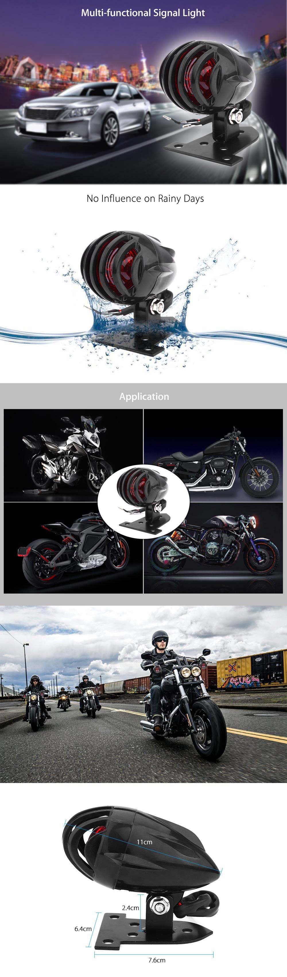 Motorcycle LED Tail Light Stop Lamp Aluminum Pedestal Brass Grille