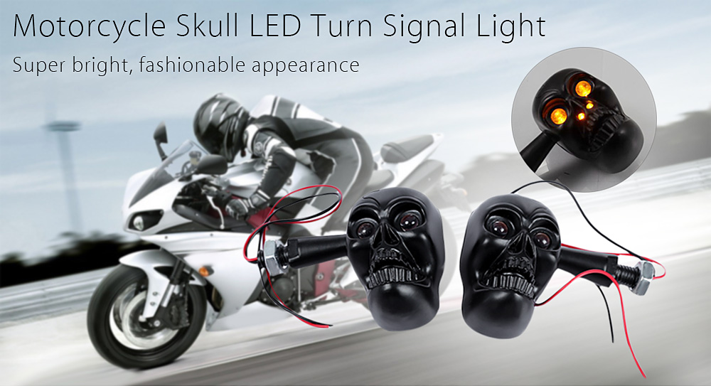 Pair of Motorcycle Motorbike Skull LED Turn Signal Light Metal Shell Amber Bright Lamp