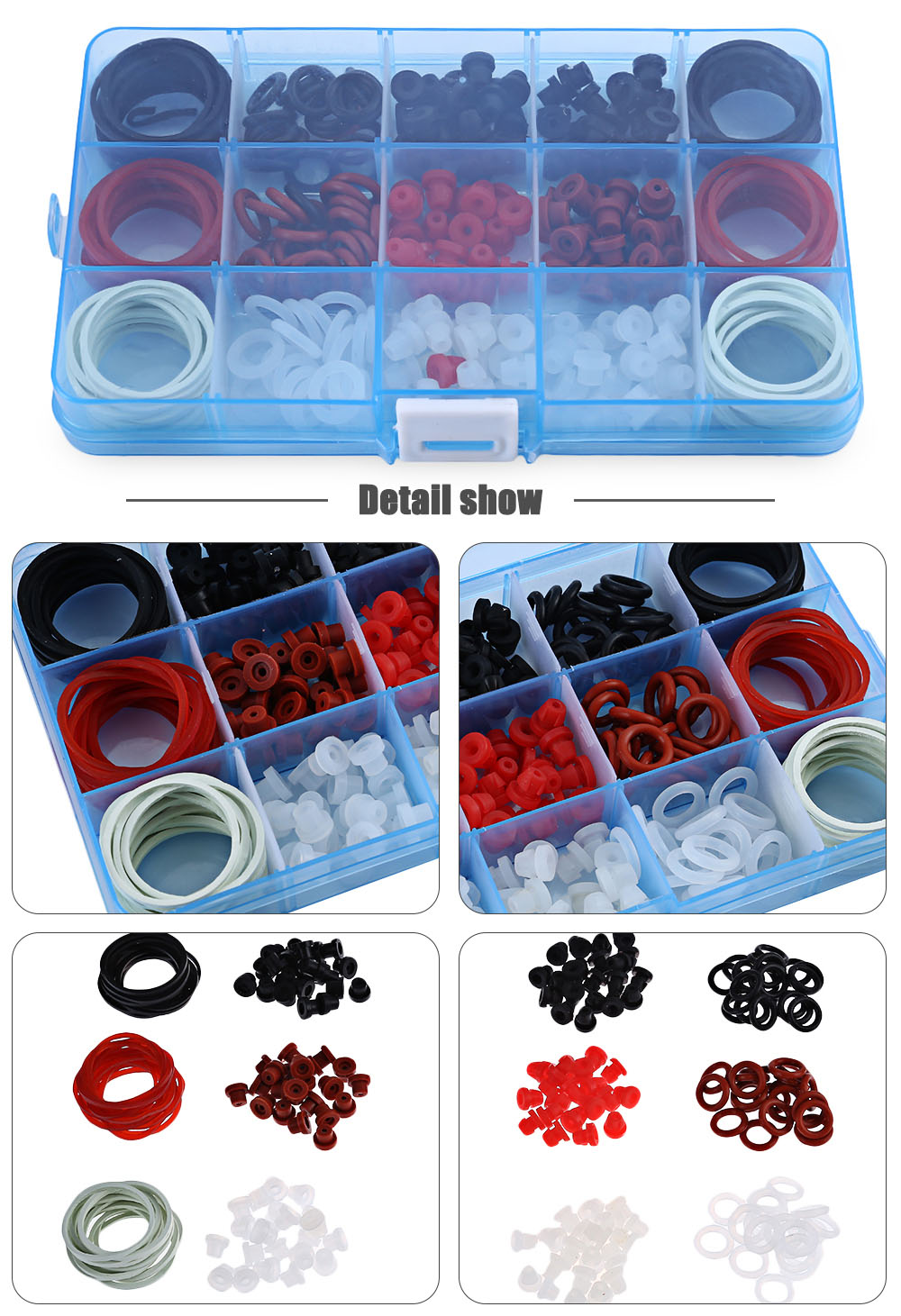 Tattoo Accessories Kit O-rings Pin Cushions Rings Rubber Bands Supplies with Big Storage Box