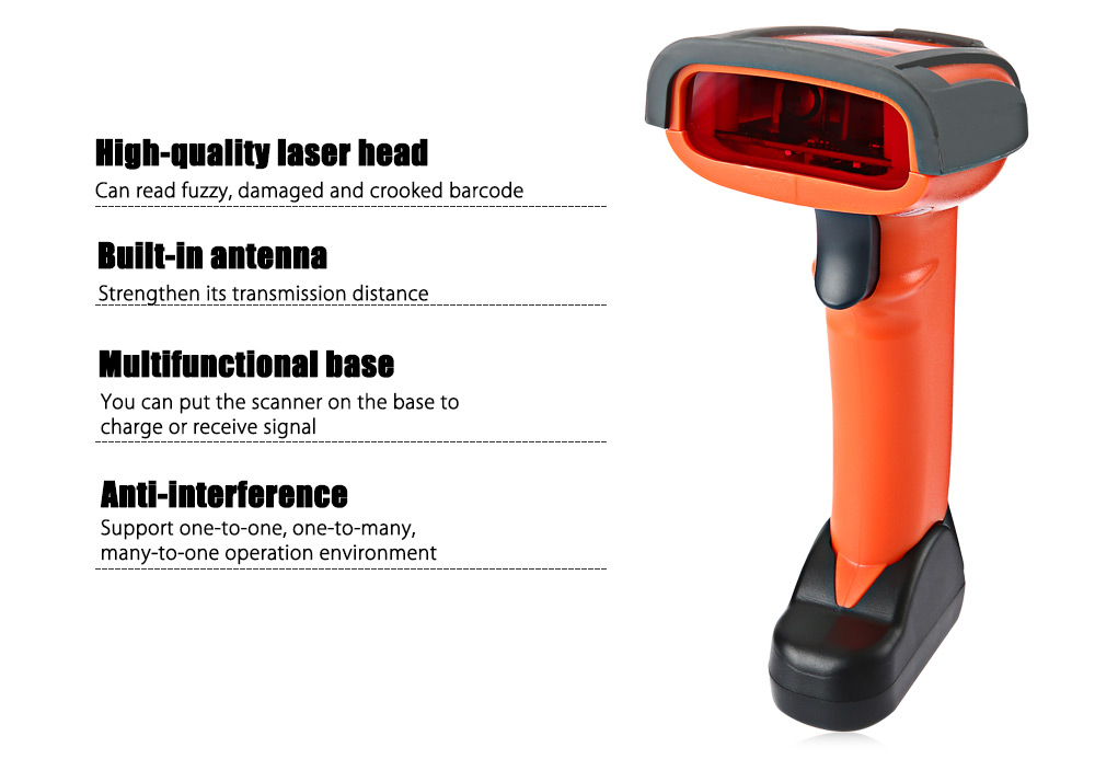 NETUM NT - 2800 Wireless 1D Barcode Scanner Rechargeable Scanister with Base
