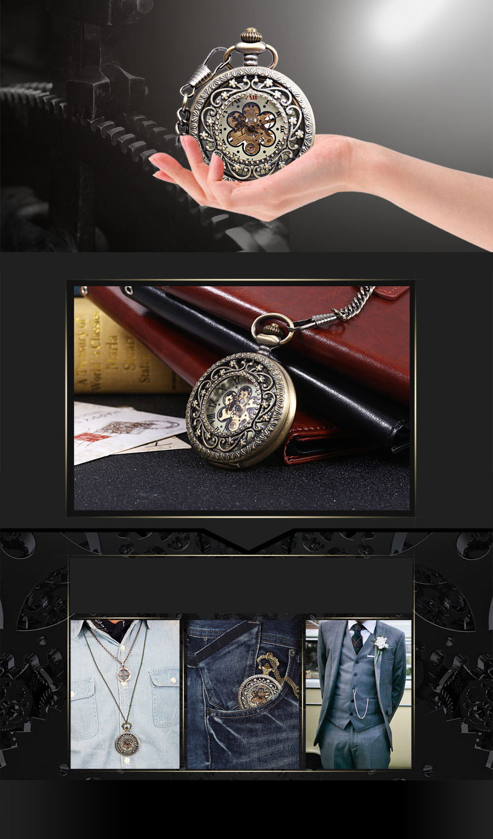 Vintage Mechanical Hand Wind Pocket Watch Flower Relief Transparent Back Cover Necklace Wristwatch