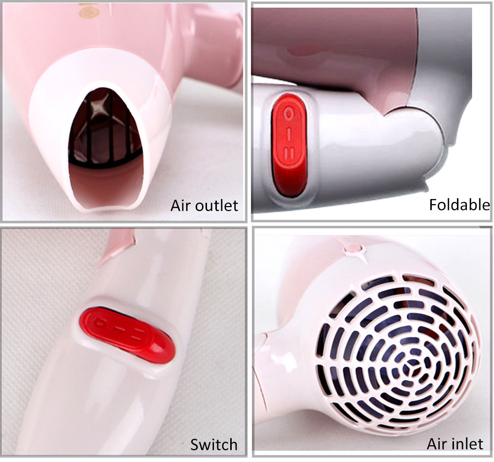 GUOWEI Foldable Mini Portable Traveller Compact Blower Hair Dryer