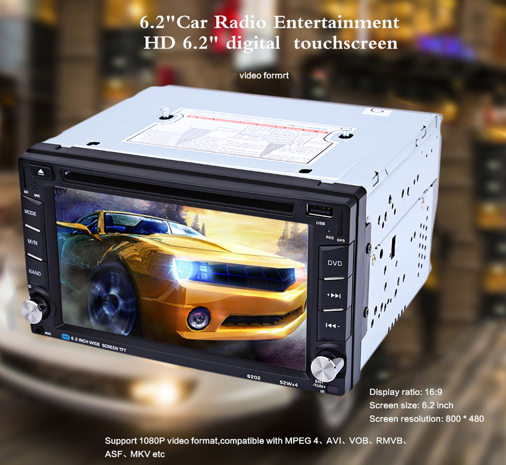 6202B 6.2 inch Bluetooth V3.0 Auto Radio Double Din Car DVD Player GPS Navigation In-dash Stereo Video Map Mic Hands-free Call