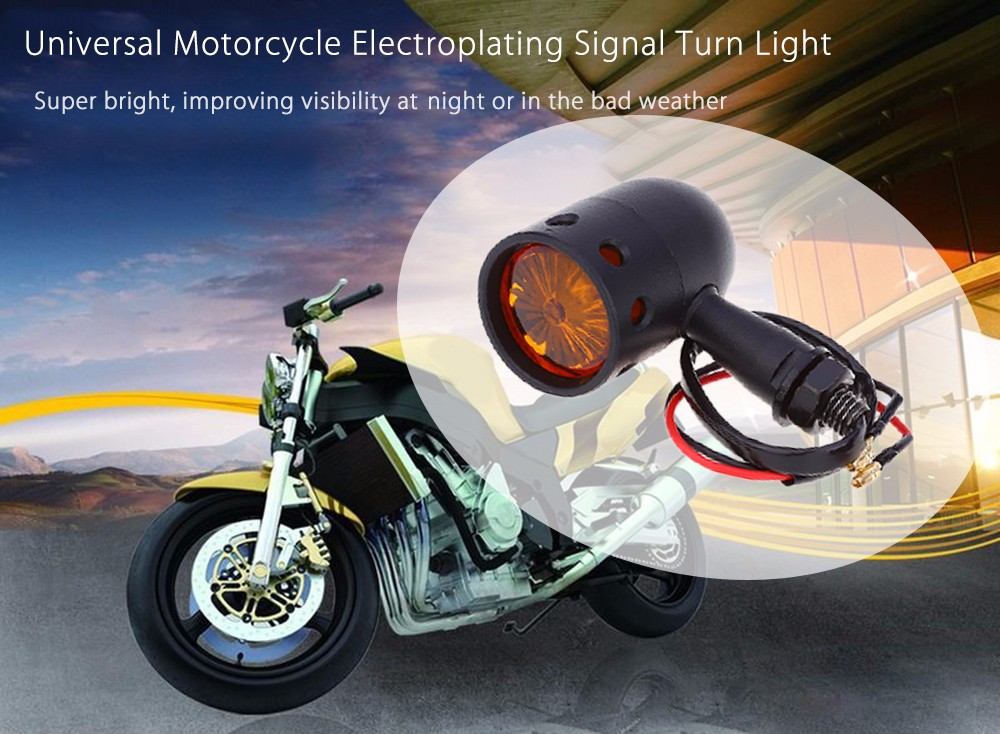 Pair of Universal Motorcycle Motorbike Electroplating Signal Turn Light Bright Lamp