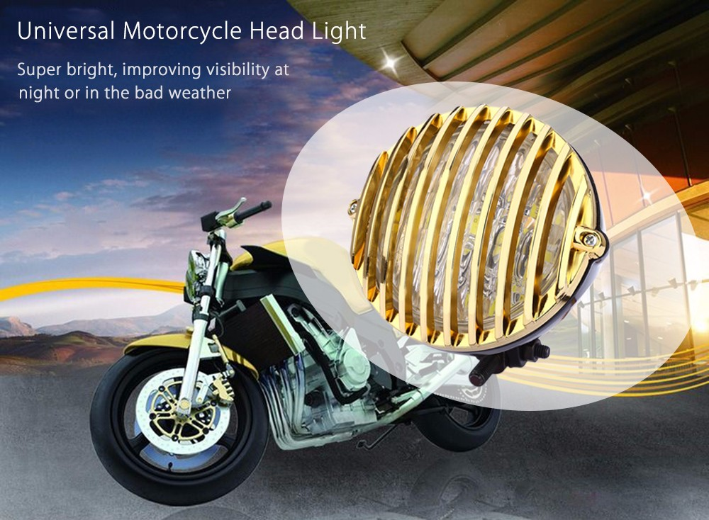 Motorcycle Scalloped Electroplate LED Grilling Front Head Light for Harley