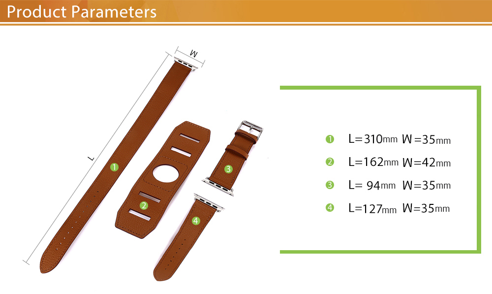 HOCO 42MM Genuine Leather Cuff Band Pin Buckle Wristband for Apple Watch