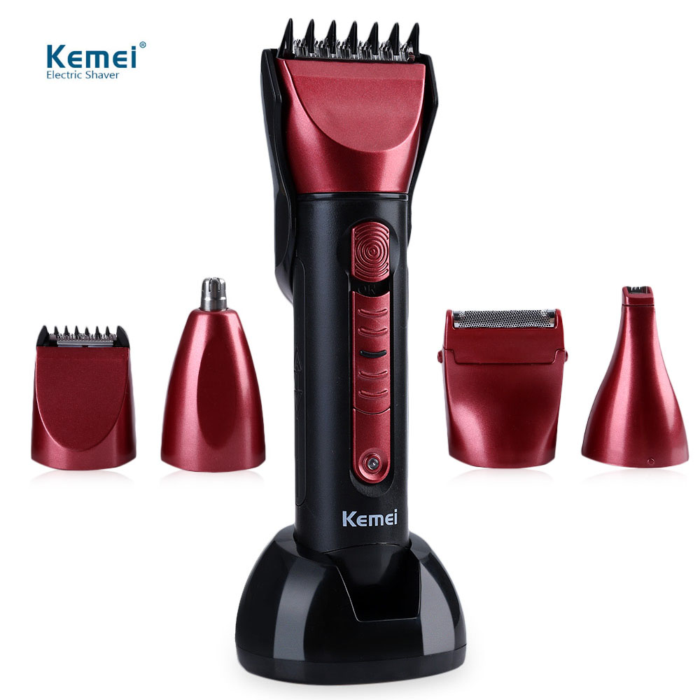 Kemei KM - 8058 Barber Professional Washable Multi-functional Electric Hair Clipper Shaver with Scissors Comb Awls