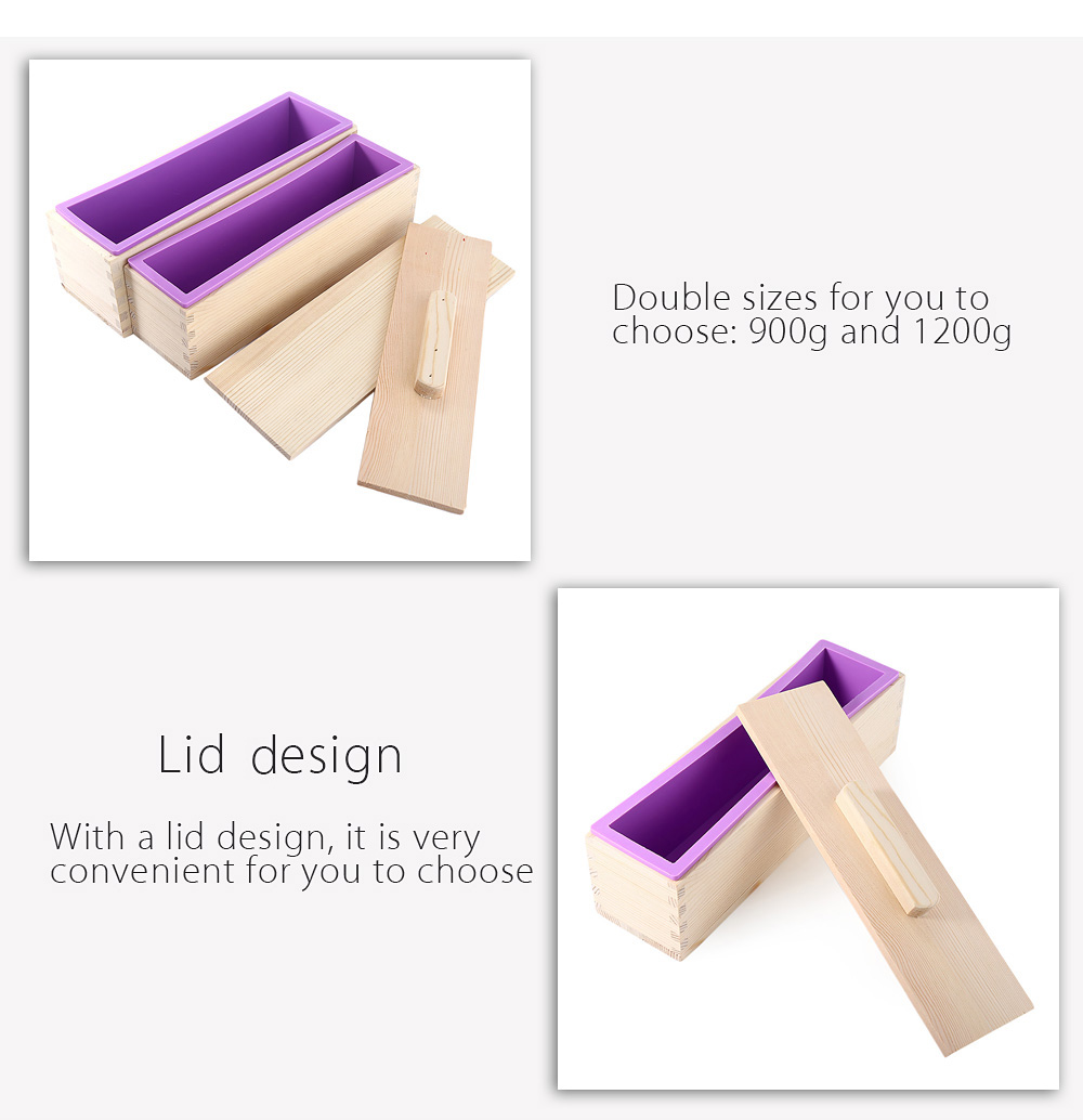 Rectangular Solid DIY Handmade Silicone Soap Mold Wooden Box with Cover