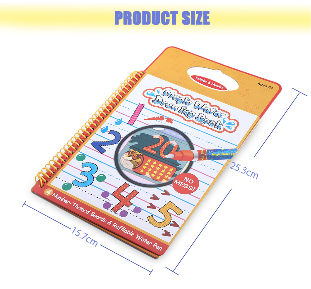 Magic Water Drawing Book Intimate Painting Board with Pen - Number