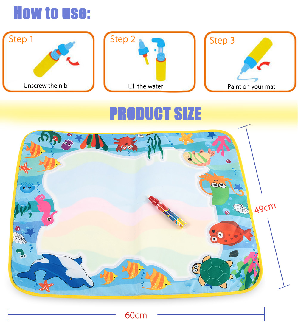 Magic Water Drawing Writing Mat Toy with Watercolor Pen - Sea World
