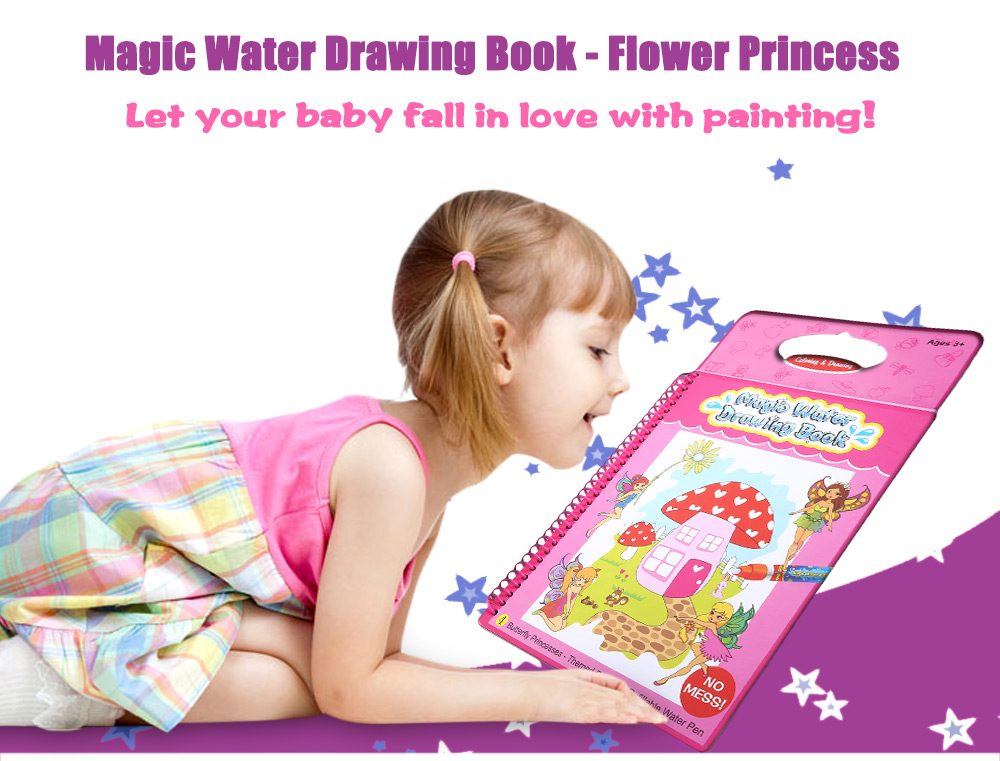Magic Water Drawing Book Intimate Painting Board with Pen - Flower Princess