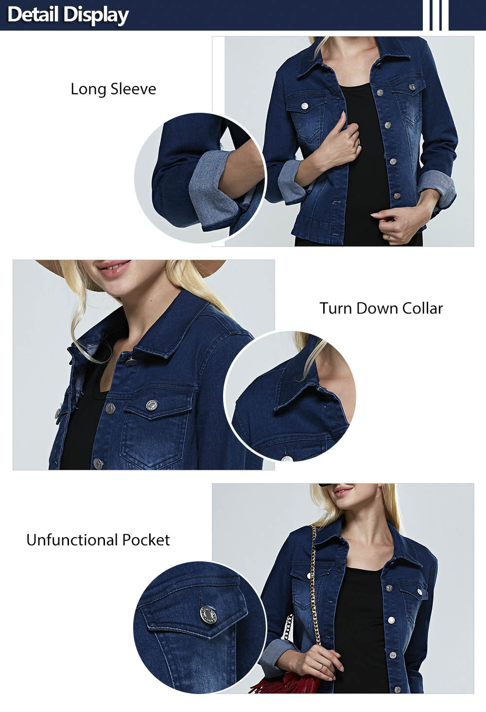 Street Style Turn Down Collar Pure Color Women Denim Coat