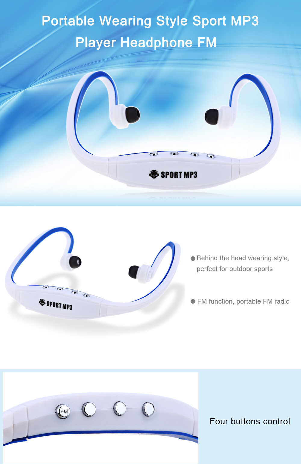 Portable Wearing Style Sport MP3 Player Headphone FM Support TF Card