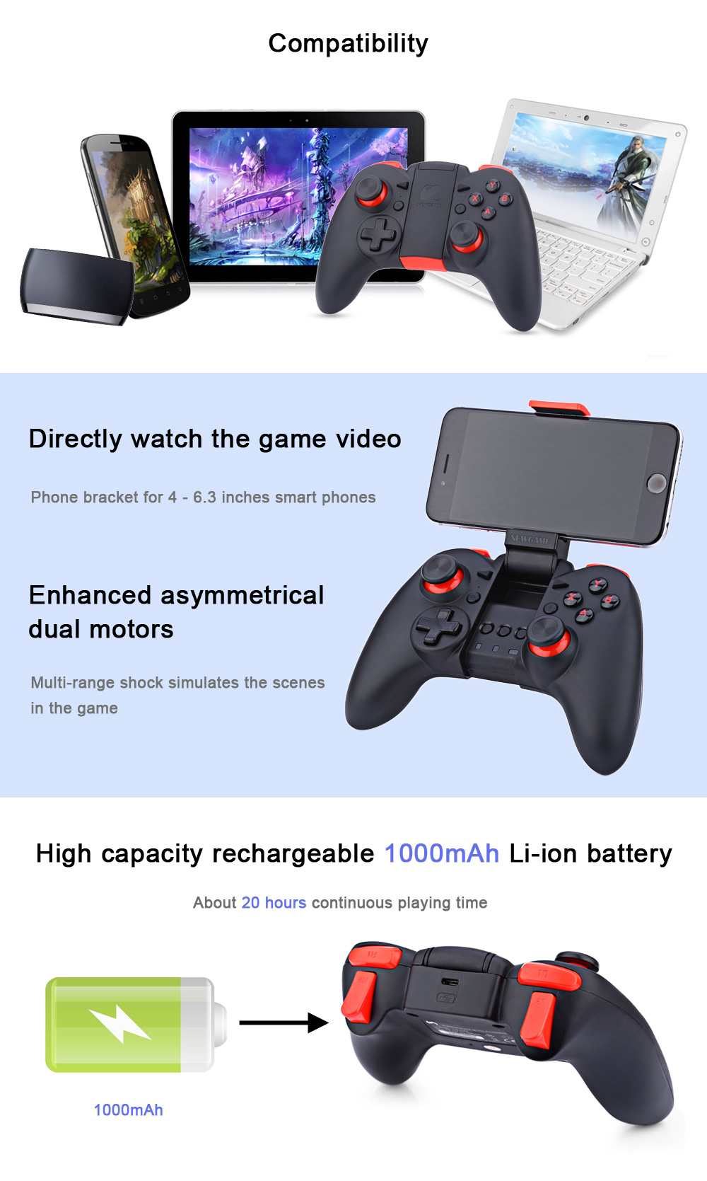 NEWGAME N1PRO Wireless Bluetooth Game Controller Joystick with Stretch Phone Bracket for iPhone iOS Android TV Box