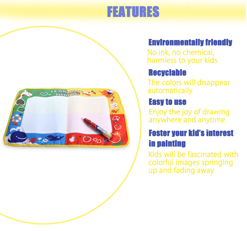 Kids Magic Water Drawing Writing Mat Toy with Watercolor Pen