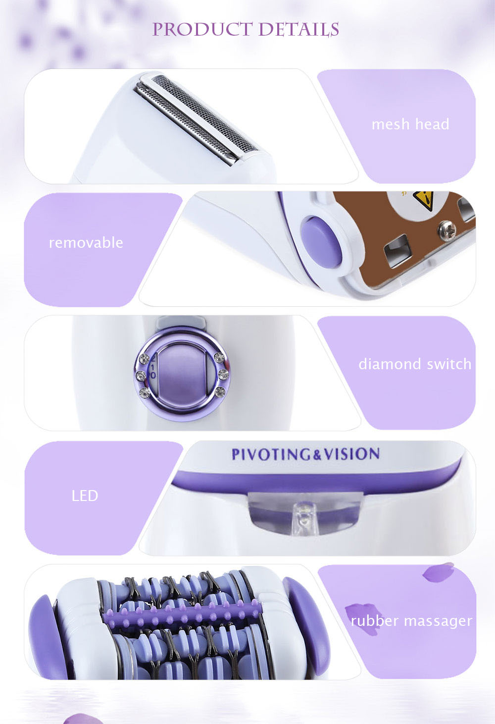 Kemei KM - 2668 Rechargeable Electric Skin-friendly Hair Remover Shaver Defeatherer Body Face Leg Depilatory Epilator for Lady