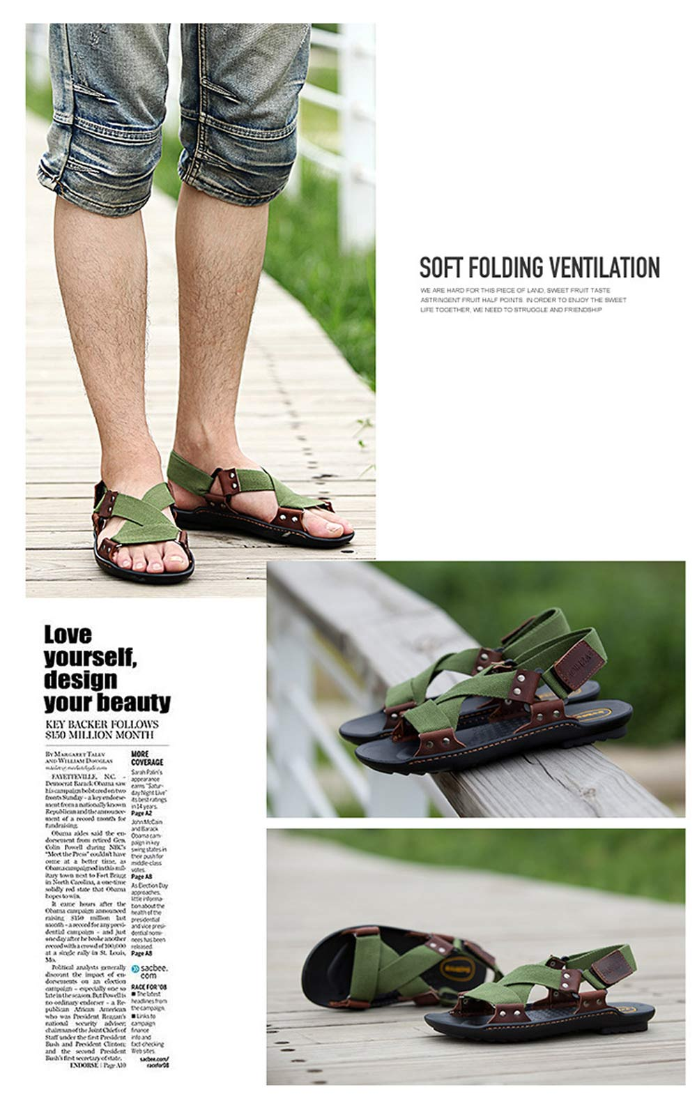 Casual Cross Strap Skid Resistance Breathable Men Beach Leather Sandals