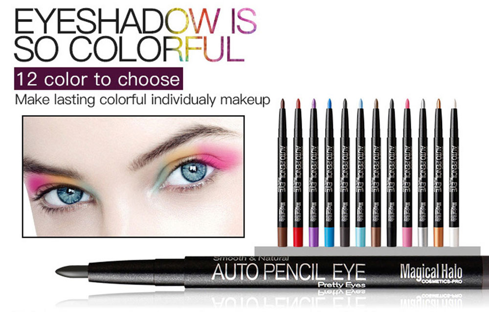 Magical Halo 12 Color Cosmetic Automatic Waterproof Eyeshadow Pencil Matte