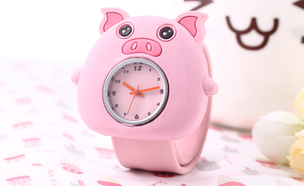 Cute Children Quartz Watch Pig Case Silicone Band Wristwatch