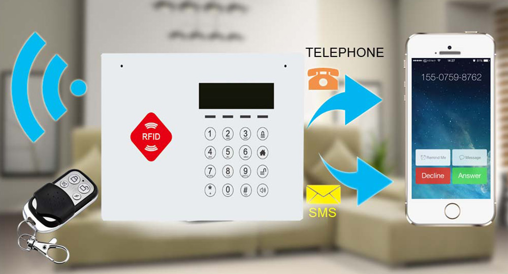 DY - G66B GSM RFID Wireless Infrared Alarm Home Security System