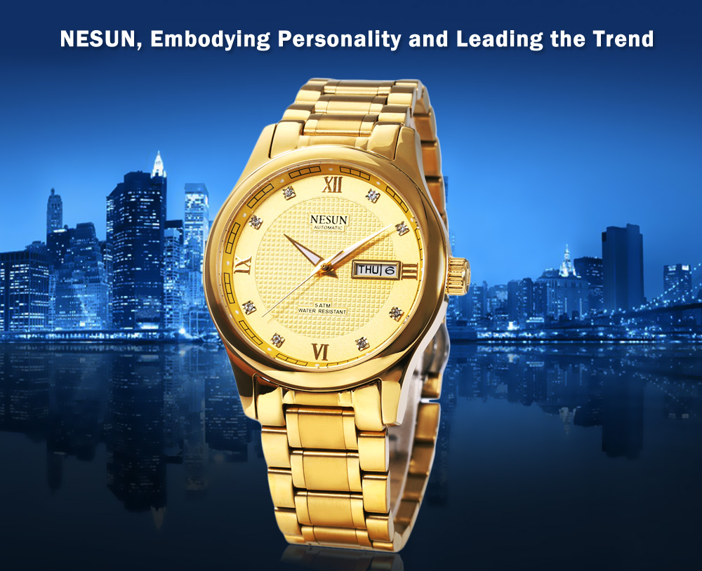 NESUN MS9121 Male Automatic Mechanical Watch Calendar Artificial Diamond Scales Wristwatch
