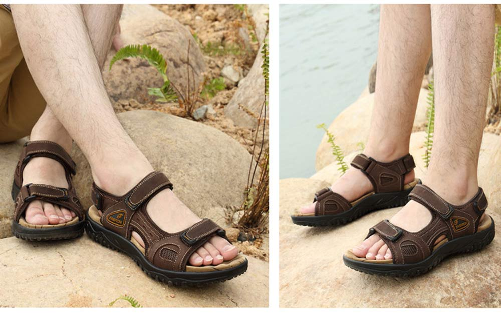 Summer Outdoor Leather Sports Skip Resistance Hollow Sandals for Men