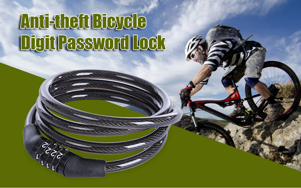Anti-theft Bicycle Chain Lock 4 Digit Password Security Protector