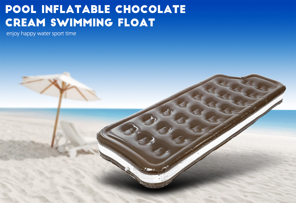 Pool Inflatable Chocolate Cream Floating Row Swimming Bed Toy Water Beach Boat with Pump
