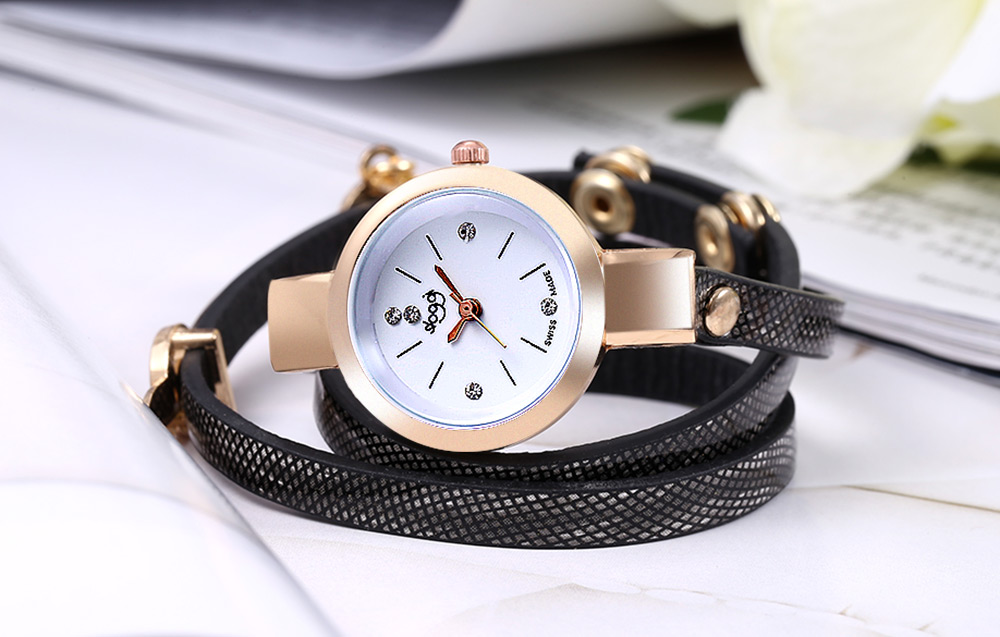 Sloggi Female Quartz Watch Super Slender Leather Strap Artificial Diamond Scale Bracelet