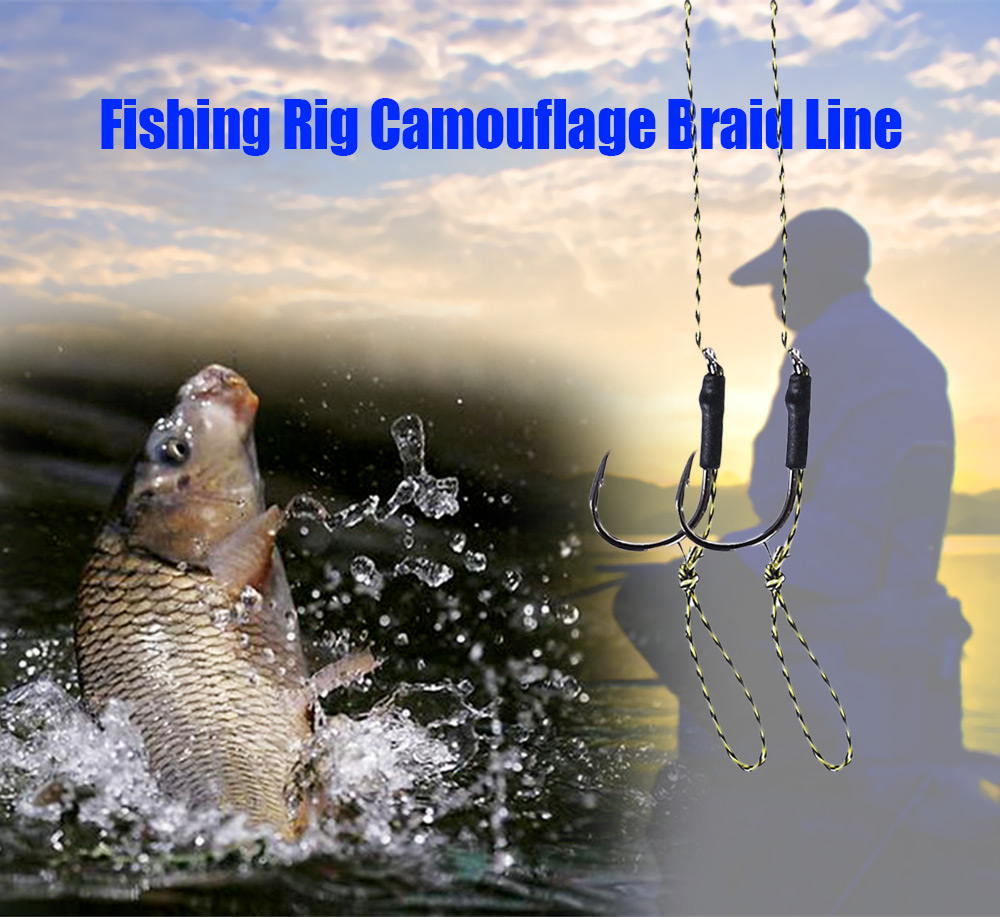 Pair of Camouflage Braided Line Carp Rig Bait Fishhook Fishing Accessory
