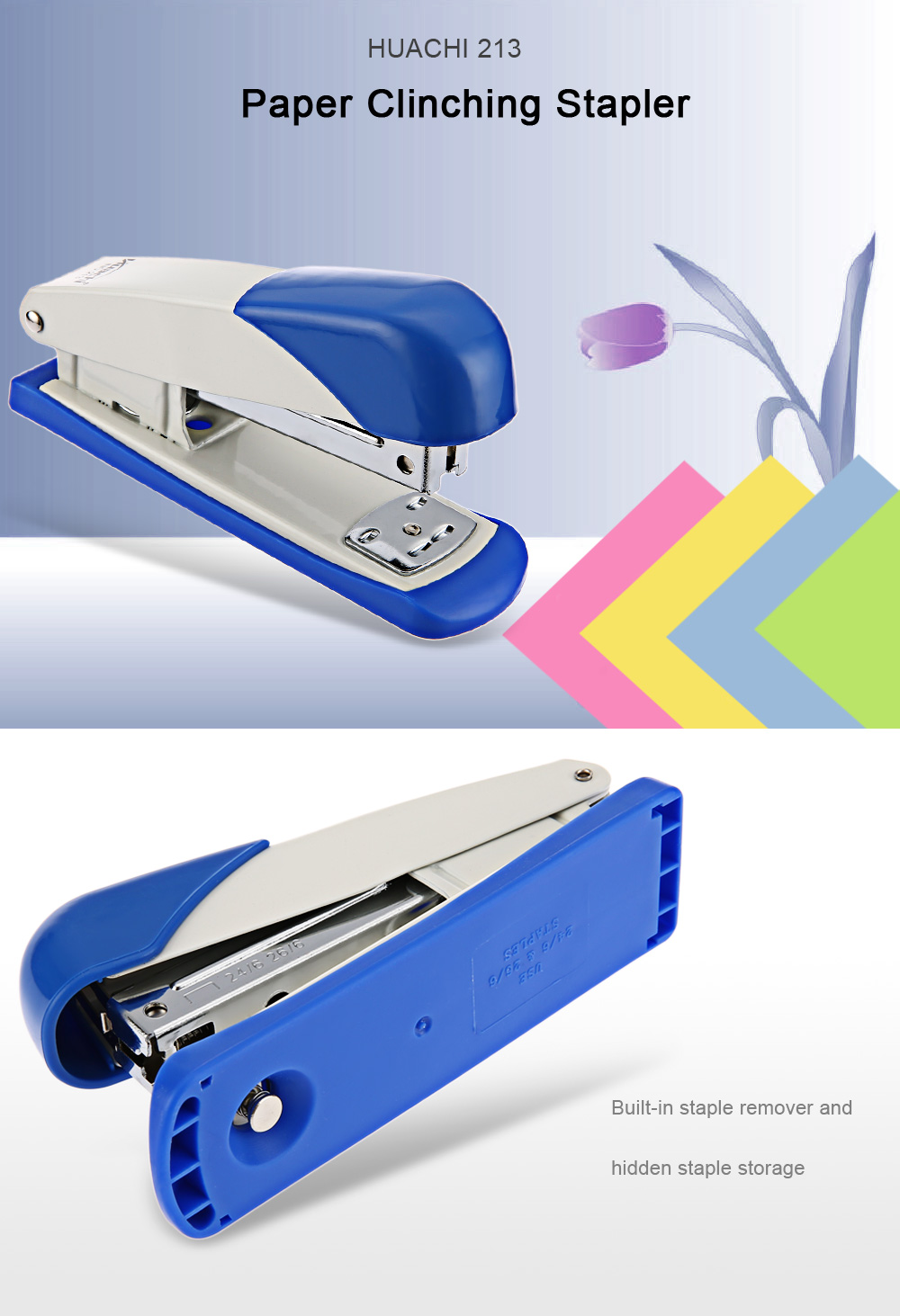 HUACHI 213 Office Supplies Paper Clinching Stapler